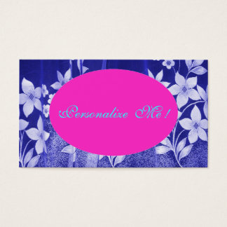 Cute Pink Save-the-Date Floral Girly Blue/White Business Card