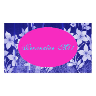 Cute Pink Save-the-Date Floral Girly Blue/White Double-Sided Standard Business Cards (Pack Of 100)