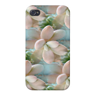Cute Pink Sedum Succulent Jelly Bean Leaves Cases For iPhone 4