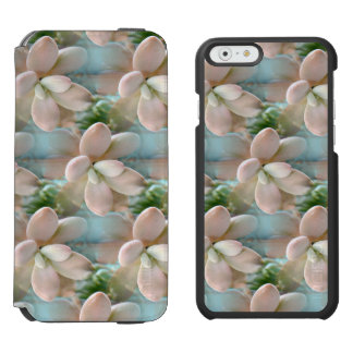 Cute Pink Sedum Succulent Jelly Bean Leaves iPhone 6/6s Wallet Case