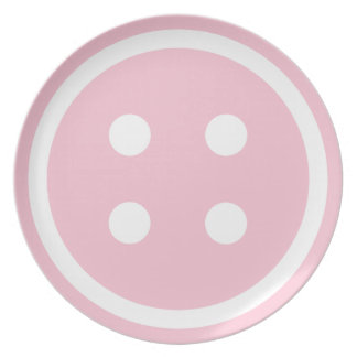 Cute Pink Sewing Button Party Plate