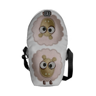 Cute Pink Sheep Faux Felt Printed Image Courier Bag