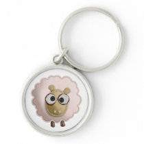 Cute Pink Sheep Faux Felt Printed Image Keychain
