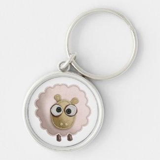 Cute Pink Sheep Faux Felt Printed Image Key Chain