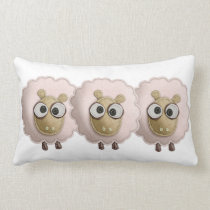 Cute Pink Sheep Faux Felt Printed Image Lumbar Pillow