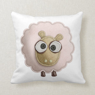 Cute Pink Sheep Faux Felt Printed Image Throw Pillow