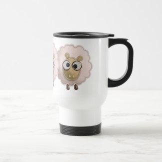 Cute Pink Sheep Faux Felt Printed Image Travel Mug