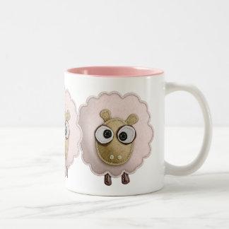 Cute Pink Sheep Faux Felt Printed Image Two-Tone Coffee Mug