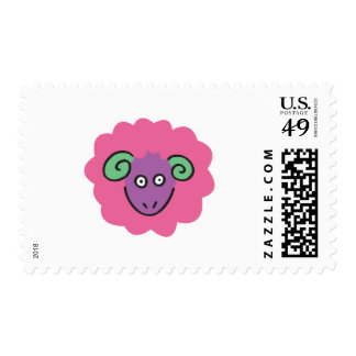 cute pink sheep postage stamps