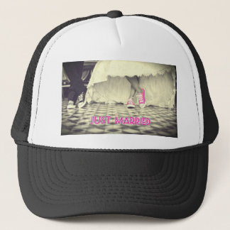 Cute Pink Shoes Just Married Trucker Hat