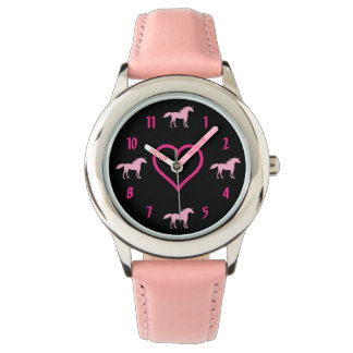 Cute Pink Silhouette Unicorns and Heart on Black Wristwatches
