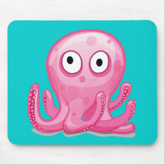 cute pink silly octopus mouse pad