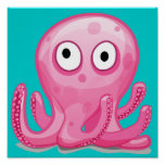 cute pink silly octopus poster