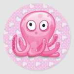cute pink silly octopus with pink hearts stickers