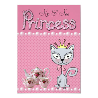 Cute Pink Sip & See Baby Shower Princess Kitty Cat Announcements