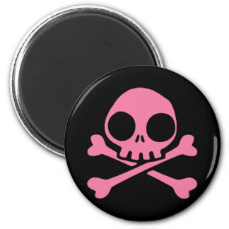 Cute Pink Skull 2 Inch Round Magnet