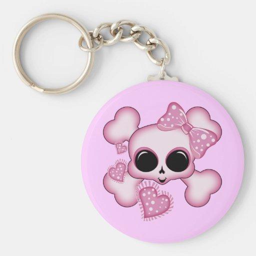 Cute Pink Skull Basic Round Button Keychain