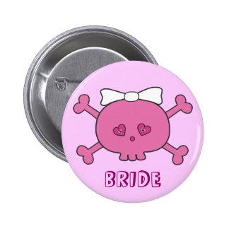 Cute Pink Skull Bride Bachelorette Party Pinback Button