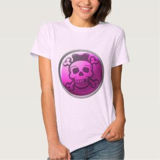 Cute Pink Skull Button T-shirt