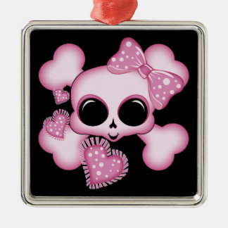 Cute Pink Skull Metal Ornament