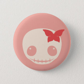 Cute Pink Skull Pinback Button