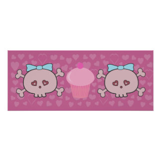 Cute Pink Skulls & Cupcake With Hearts Background Posters
