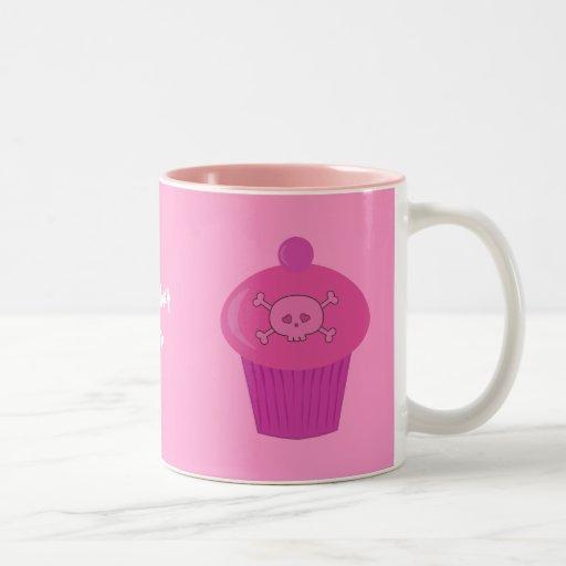 Cute Pink Skulls & Cupcakes Personalized Two-Tone Mug