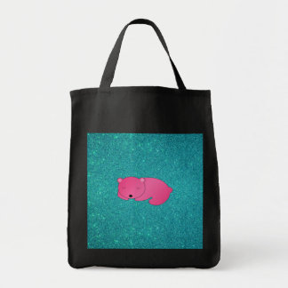 Cute pink sleeping bear turquoise glitter canvas bags
