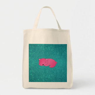 Cute pink sleeping bear turquoise glitter canvas bag