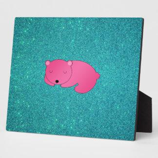 Cute pink sleeping bear turquoise glitter display plaque