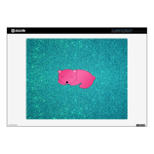 "Cute pink sleeping bear turquoise glitter 14"" laptop decal"