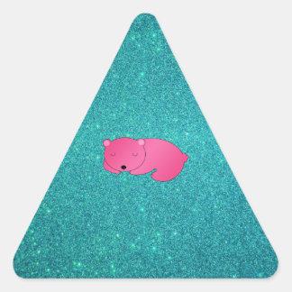 Cute pink sleeping bear turquoise glitter triangle sticker