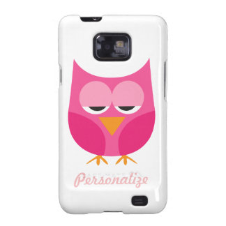 Cute Pink Sleepy Owl Personalized Samsung Galaxy S2 Case
