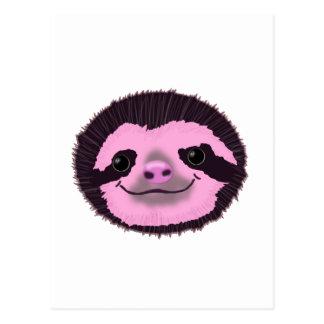 cute pink sloth face postcard