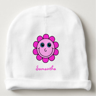Cute Pink Smiley Face Flower Monogram Baby Beanie