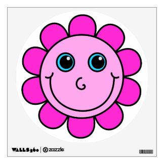 Cute Pink Smiley Face Flower Wall Sticker