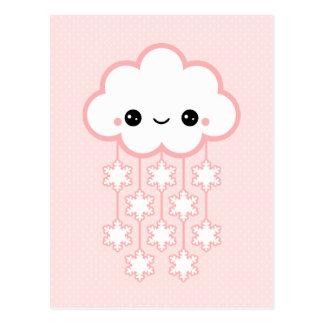 Cute Pink Snow Cloud Postcard