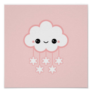 Cute Pink Snow Posters