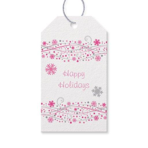 Cute Pink Snowflake Gift Tags