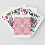 Cute Pink Snowflakes Bicycle Poker Cards