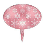 Cute Pink Snowflakes Cake Topper