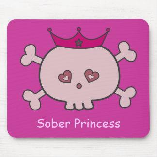 Cute Pink Sober Princess Cartoon Skull Custom Mouse Pad