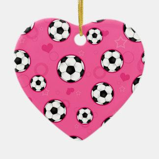 Cute Pink Soccer Star Print Ceramic Ornament