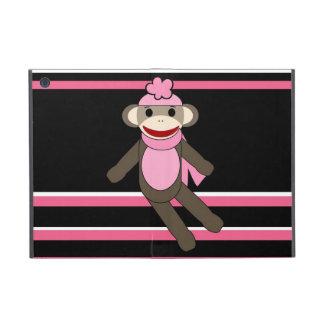 Cute Pink Sock Monkey Girl Flower Hat Stripes iPad Mini Case