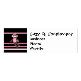 Cute Pink Sock Monkey Girl Flower Hat Stripes Mini Business Card