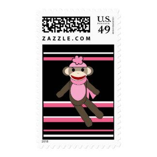 Cute Pink Sock Monkey Girl Flower Hat Stripes Postage Stamps