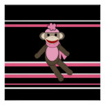 Cute Pink Sock Monkey Girl Flower Hat Stripes Poster