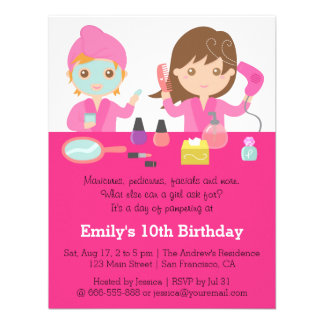Cute Pink Spa Birthday Party Invitation Invitations