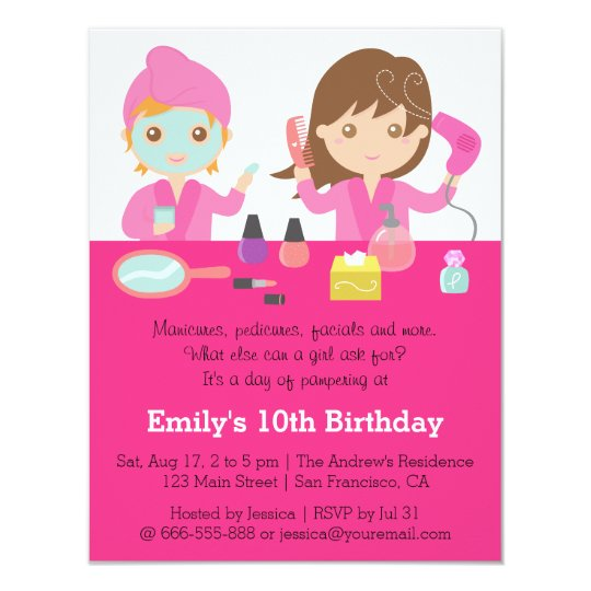 Cute pink spa birthday party invitation zazzle cute pink spa birthday party invitation filmwisefo Gallery