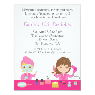 Cute Pink Spa Birthday Party Invitation